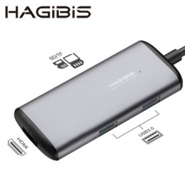 Hub 5 in 1 Hagibis USB Type-C To USB3.0X2 + SD / TF + HDMI